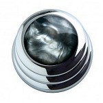Qparts Chrome Ringo Black Pearl Knob (PAIR)
